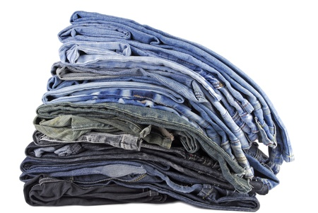 stack of various jeans isolated on white background Stock Photo - 22149771