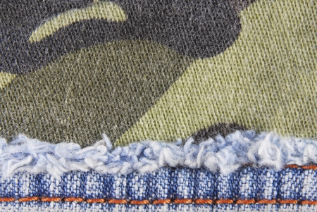khaki pants: camouflage and blue jeans texture border background