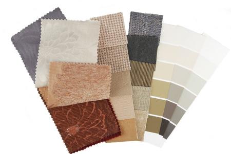 kleur selectie voor het interieur op wit wordt geïsoleerd Stockfoto