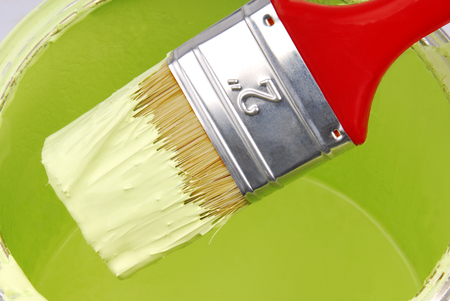 paint brush and can with paint photo