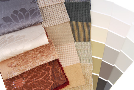 upholstery  tapestry and curtain color selection for interior photo