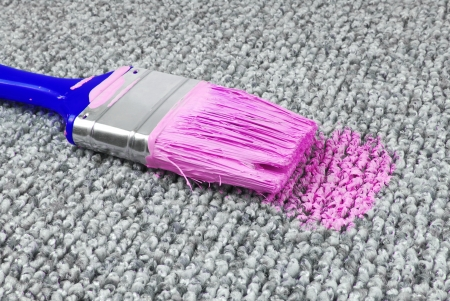 unawares: stained carpet with paint brush