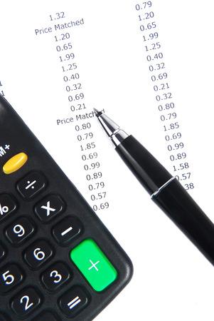receipt calculator and pen photo