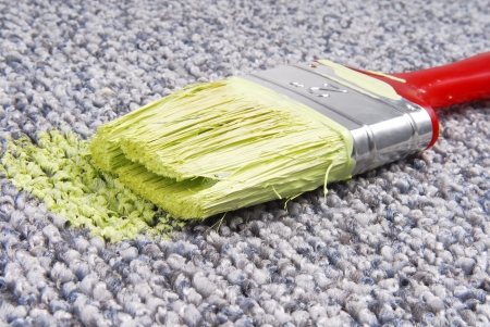 unawares: paint brush on stained carpet