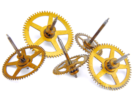 parts of clockwork isolated on white photo