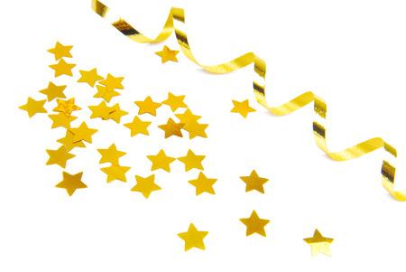 gouden confetti en lint geïsoleerd op wit