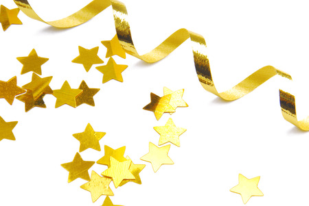 golden confetti and ribbon isolated on white Stock Photo