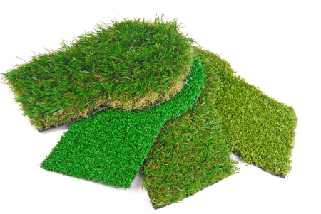 artificial grass  samples isolated on white photo