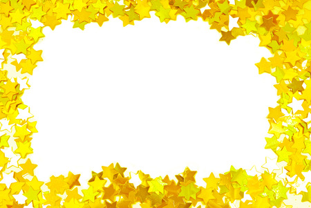 confetti background: golden confetti  frame border space isolated on white Stock Photo