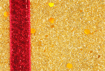 sheeny: golden glitter with ribbon background