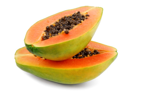 papaya fruit  isolated on white