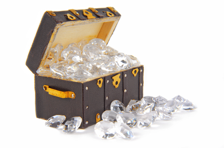 fake diamond: chest ark vintage filled with diamonds isolated on white