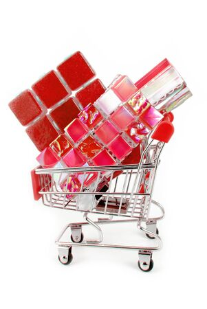 shopping trolley with ceramic tiles photo