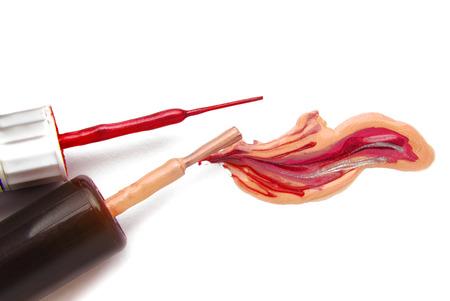 enamel: closeup of the fingernail polish enamel