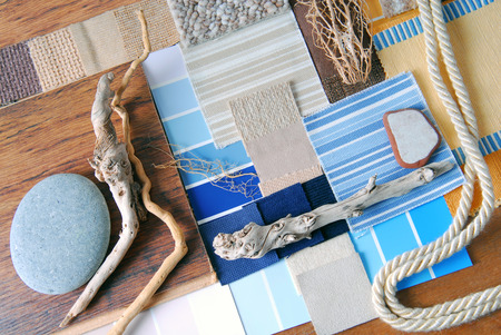 interior design color and  upholstery planning concept of sea and marina style Archivio Fotografico