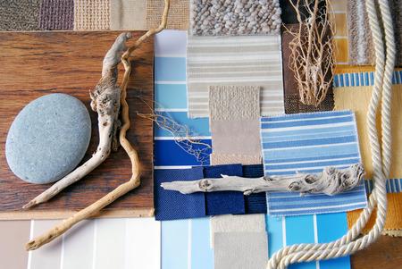 インテリア デザインの色と室内装飾品の企画し海とマリーナ スタイル コンセプト 写真素材