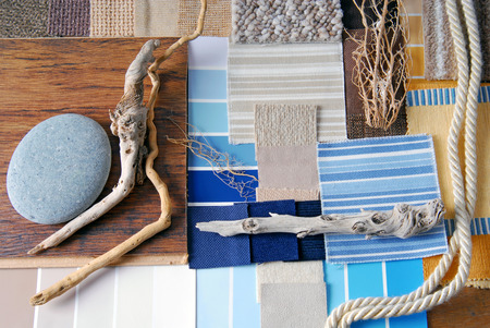 interior design color and  upholstery planning and sea and marina style concept Stock Photo