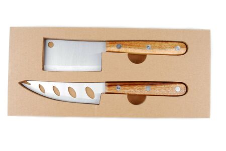 cheese knife: cheese knife set in box isolated on white