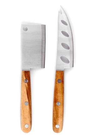cheese knife: cheese knife set  isolated on white