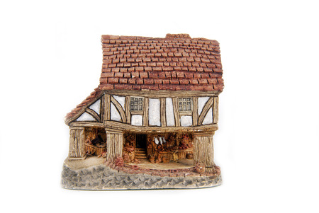 miniature house isolated on white Stock Photo