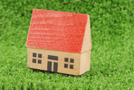 miniature house on green grass concept Stock Photo