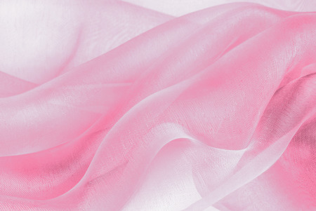 organza fabric in pink color Stock Photo