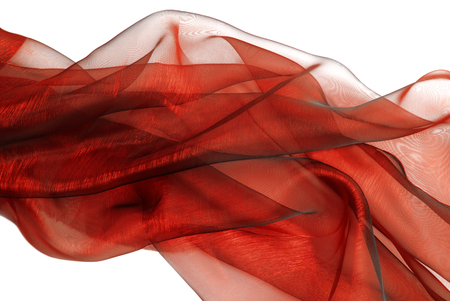 closeup of the wavy red organza fabric