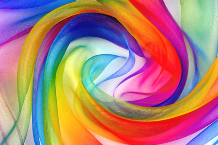 twisted twirl of organza fabric multicolour texture Stock Photo - 89470116