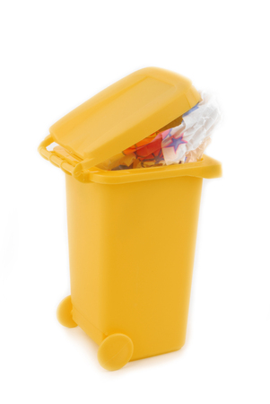 overcrowded: rubbish litter bin isolated on white Stock Photo