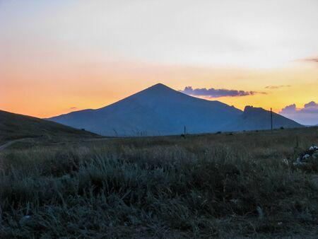 crimean: Crimean sunset over the mountain Stock Photo