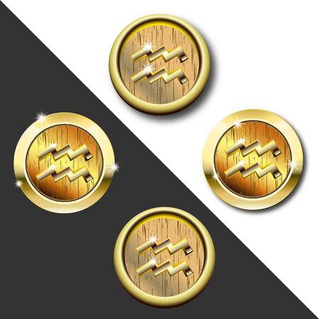 Zodiac Gold badge Aquarius (water bearer)