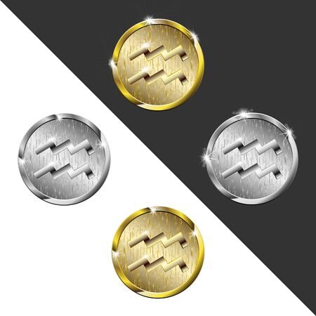 Zodiac Gold and silver medals Aquarius (water bearer)
