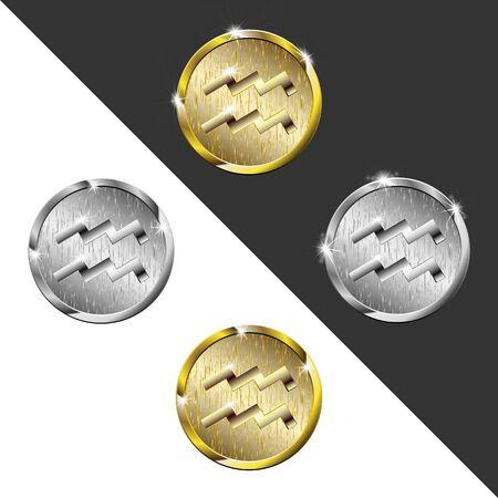 waterbearer: Zodiac Gold and silver medals Aquarius (water bearer)