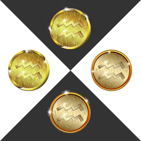 Zodiac Gold coin Aquarius (water bearer)
