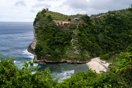 indo: View from top to Atuh Beach with cliff in background, Nusa Penida (Bali, Indonesia) Stock Photo