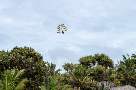 estereotipo: Typical kite in the air at Kuta beach, Bali January 2017
