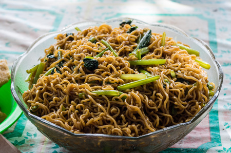 Big bowl of mie goreng in Indonesia
