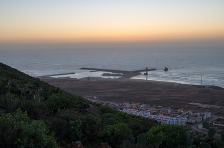 Port of Sidi Ifni just a moment after sunset. Banque d'images