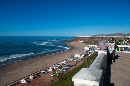 Surfers checking out the waves in February 2018, Sidi Ifni, Morocco.