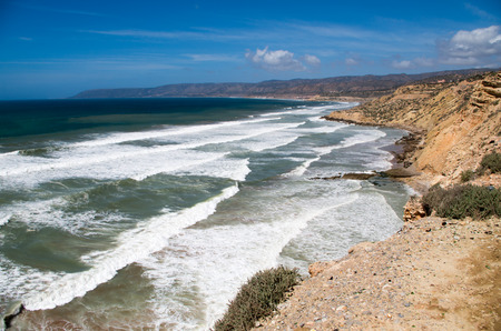 Coastline view towards the north (not Taghazout) from Killer Point surf spot. Banque d'images