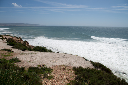 Waves arriving at Killer Point surf spot near Taghazout.