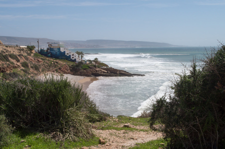 View towards Anchor Point near Taghazout in Morocco.