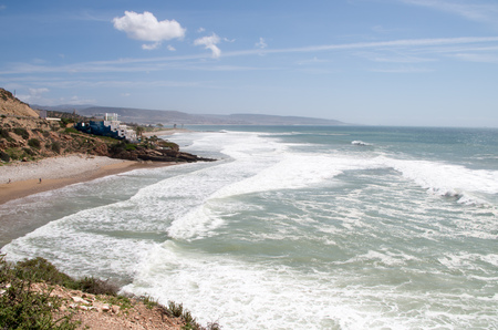 View towards Anchor Point from Killer Point (both surf spots), Taghazout, Morocco.