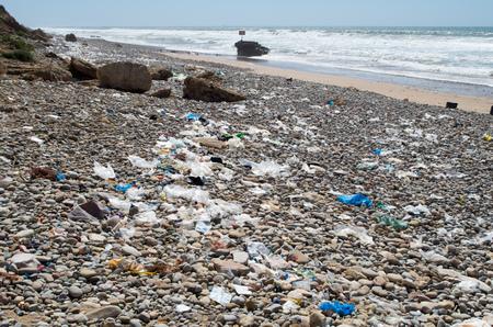 Beach is full of rubbish.