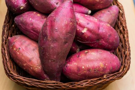 group of sweet potato in basket