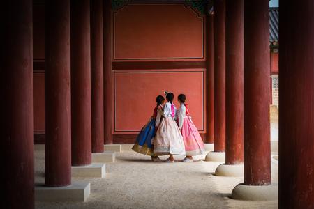 three korea girls in  korea Antique dress