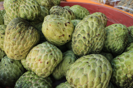 group of custard apple for sell in the market 版權商用圖片