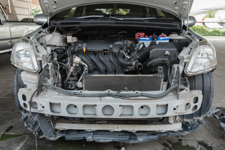 front view of car has dismantling for maintenance