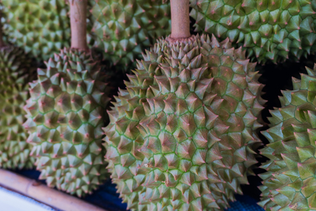 close up of durians on sell in market of Thailand,summer fruit of Thailand,King of fruits