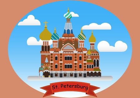 flat style color poster Church of the Savior on Spilled Blood on sky Cloudy background landmark of st.petersburg Russia illustration vector